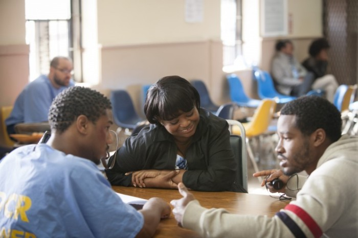 MICHAEL B. JORDAN, OCTAVIA SPENCER, RYAN COOGLER behind the scenes in FRUITVALE STATION (courtesy of The Weinstein Company)