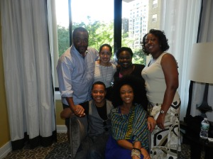(l to r, standing) Lee Daniels, Alex Gibson, Le Anne Lindsay, Thomasena Farrar, (l to r, seated) Cuba Gooding Jr., Yaya Alafia